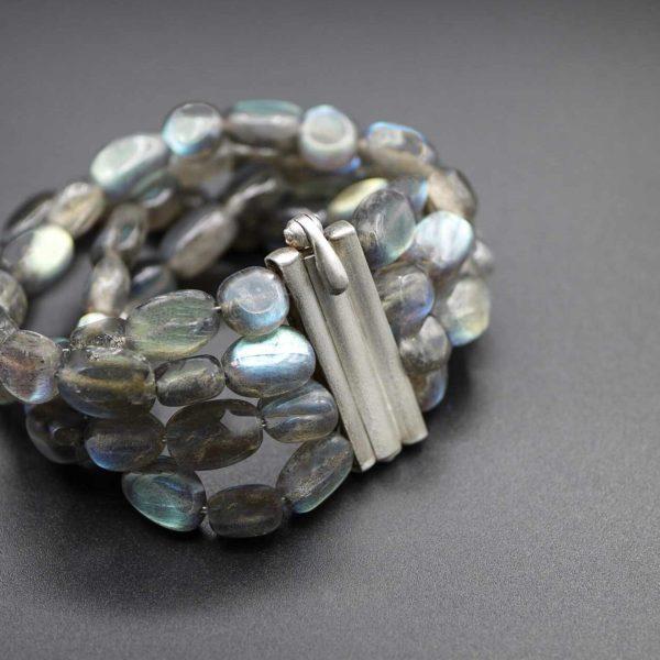 Labradorit-Armband mit Schliesse in Silber 925