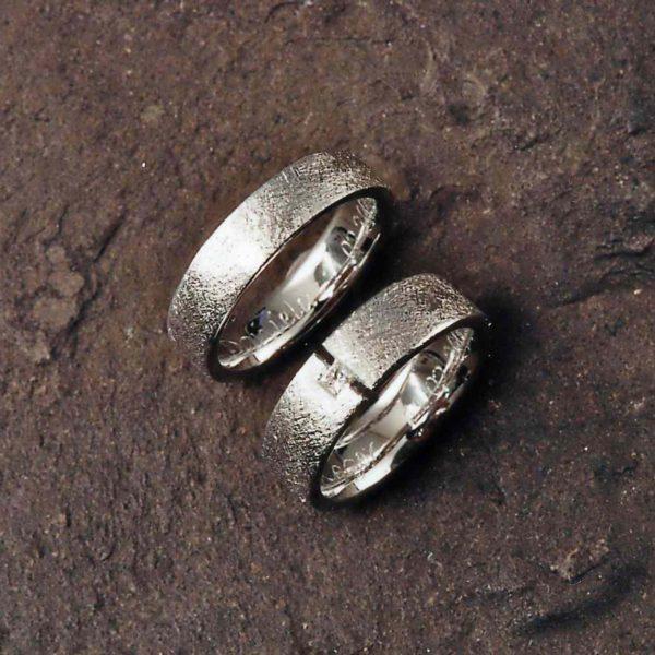 Trauringe in Weissgold 750 mit Diamant Princess Cut