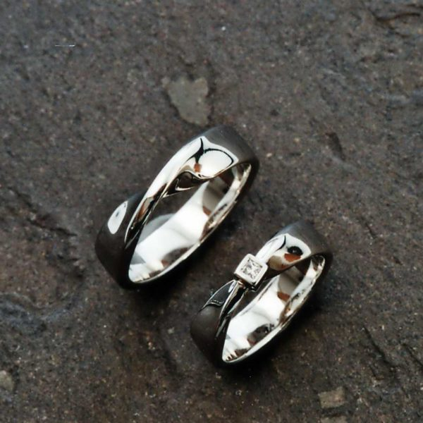 Trauringe in Platin 950 mit Diamant Princess Cut